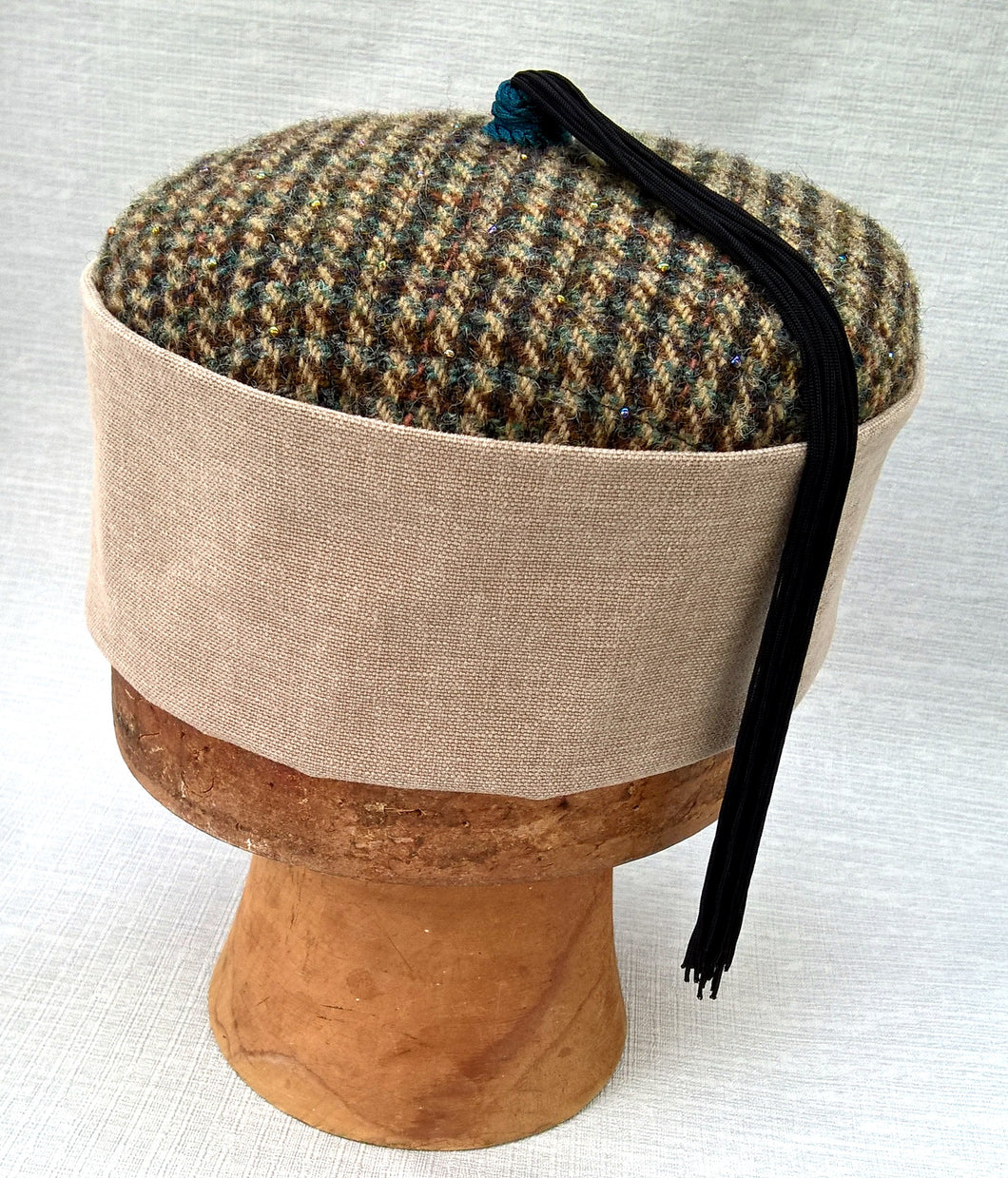 Tweed Tassel Smoking Cap, Pillbox Hat for the Modern Wizard