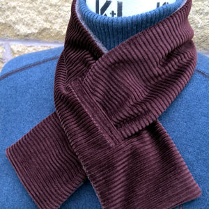 Brown corduroy fleece lined keyhole cravat by TwiLd Capit Hog