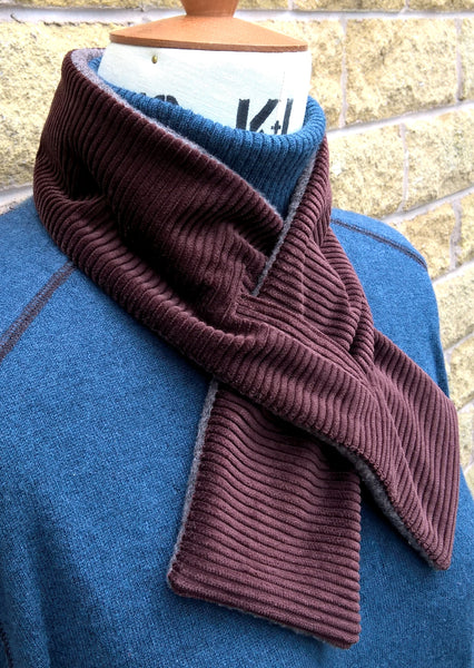 Fleece Scarf Victorian Style Keyhole Cravat, Brown Winter Neck Warmer