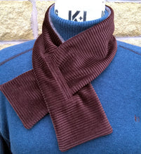 Load image into Gallery viewer, Fleece Scarf Victorian Style Keyhole Cravat, Brown Winter Neck Warmer