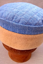 Load image into Gallery viewer, Denim Fleece Winter Skullcap, Quilted Bohemian Indie Hat