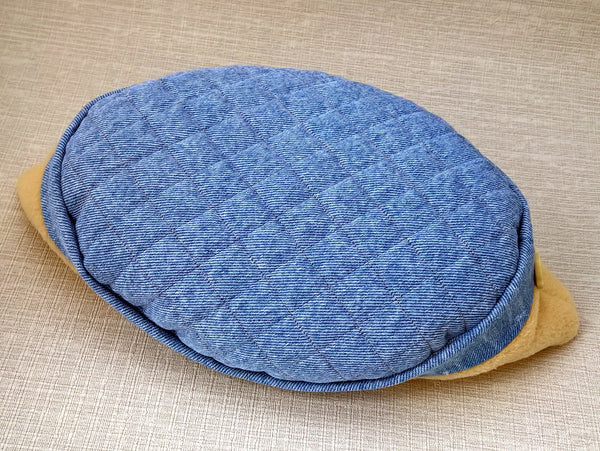 Denim Fleece Winter Skullcap, Quilted Bohemian Indie Hat