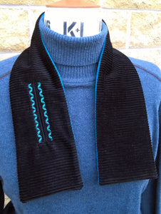 Winter Fleece Scarf, Embroidered Black Neck Warmer Cravat