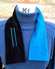Load image into Gallery viewer, Winter Fleece Scarf, Embroidered Black Neck Warmer Cravat