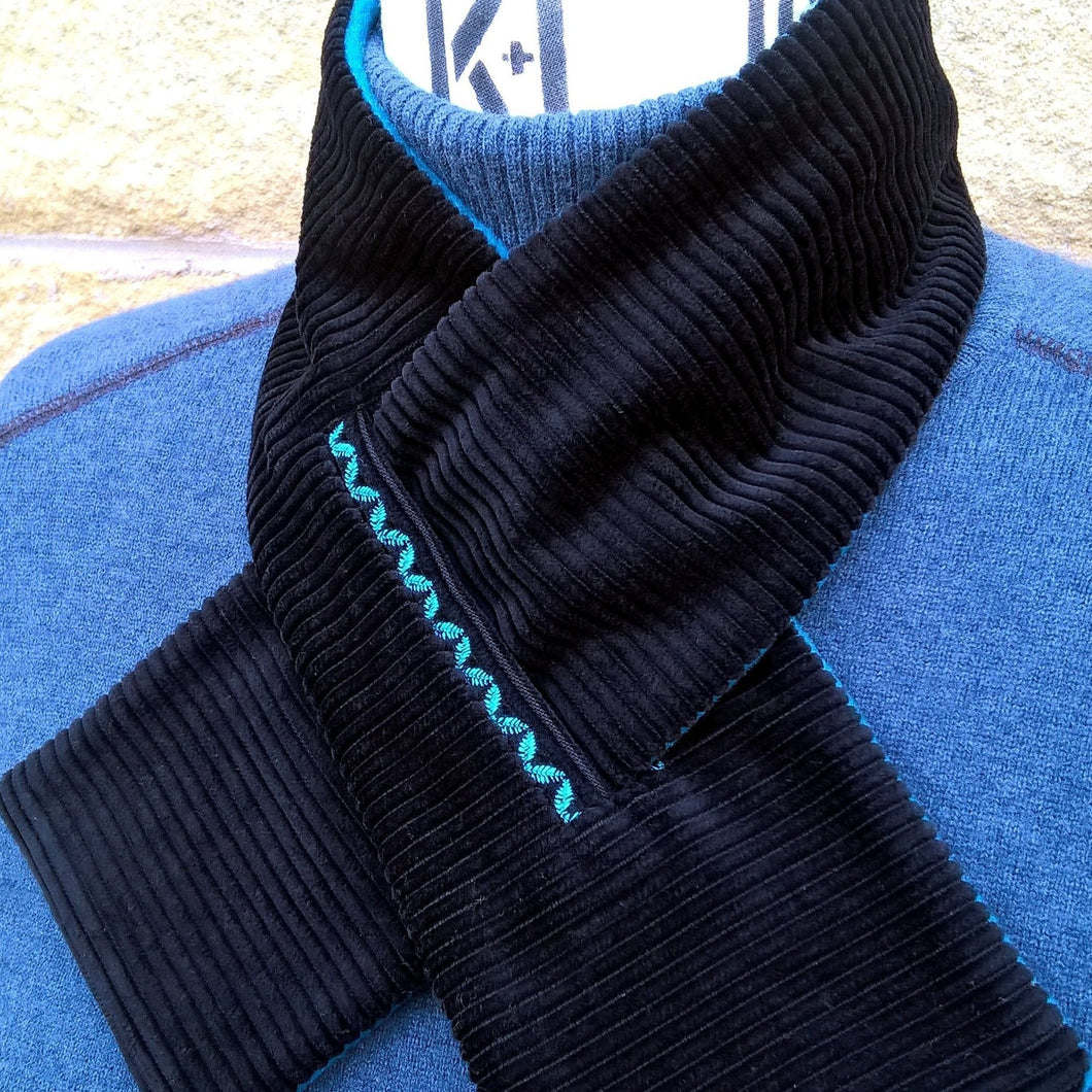 Black corduroy and teal fleece lined cravat by TwiLd Capit Hog