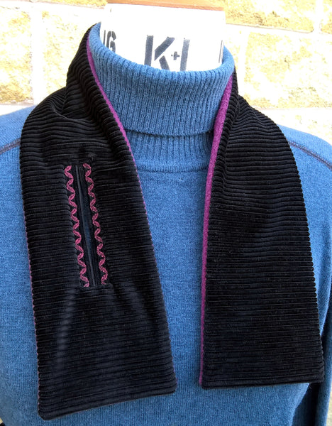Black Corduroy Embroidered Cravat, Winter Fleece Neck Warmer