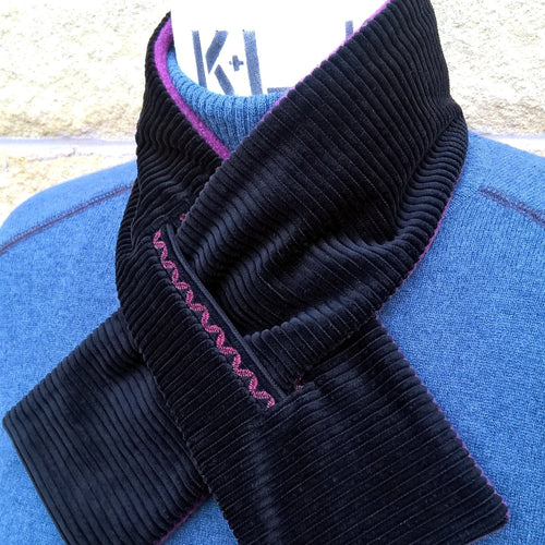 Black corduroy fleece lined cravat with burgundy embroidery by TwiLd Capit Hog