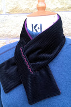 Load image into Gallery viewer, Black Corduroy Embroidered Cravat, Winter Fleece Neck Warmer