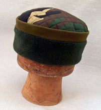 Load image into Gallery viewer, Camouflage Fleece Winter Skullcap, Quilted Green Pillbox Hat