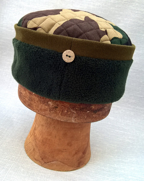 Camouflage Fleece Winter Skullcap, Quilted Green Pillbox Hat
