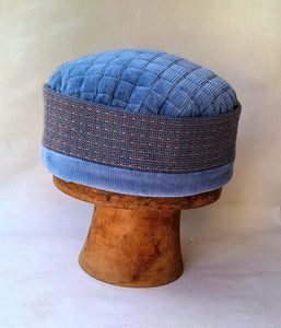 Blue Ethnic Smoking Cap with frosted beading