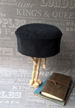 Load image into Gallery viewer, Grey Corduroy Smoking Cap with gunmetal beading