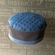 Load image into Gallery viewer, Blue corduroy ethnic smoking cap with frosted beading by FabNotes