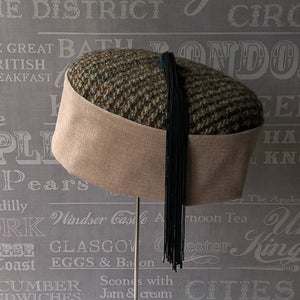 Tweed smoking cap with blue and black tassel by TwiLd Capit Hog