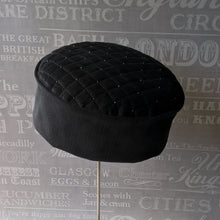 Load image into Gallery viewer, Grey corduroy smoking cap with gunmetal beading by FabNotes