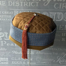 Load image into Gallery viewer, Ethnic smoking cap in blue and brown with braid tassel by TwiLd Capit Hog