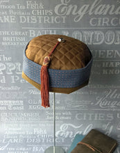 Load image into Gallery viewer, Ethnic Smoking Cap in blue brown with braid tassel