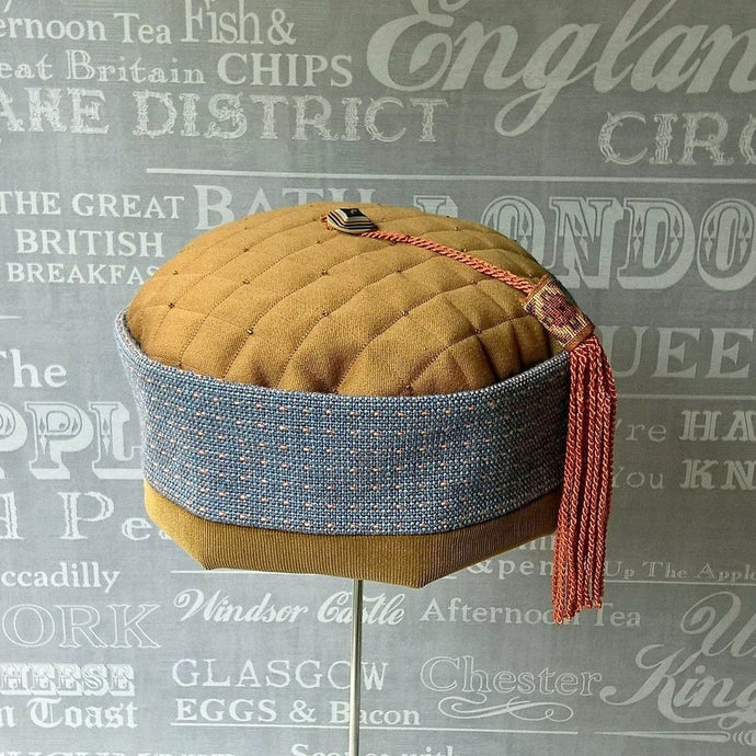 Ethnic smoking cap in blue and brown with braid tassel by TwiLd Capit Hog