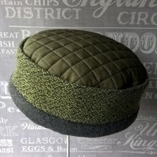 Load image into Gallery viewer, Green ethnic pillbox hat with winter fleece lining by TwiLd Capit Hog