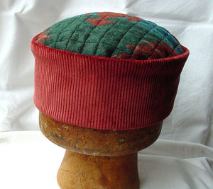 Aztec hippie hat handmade in red and green
