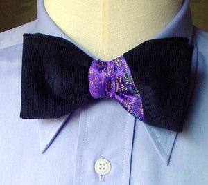 Pre Tied Bow Tie Tie, Purple and Navy Asymmetrical 50s Fashion Men