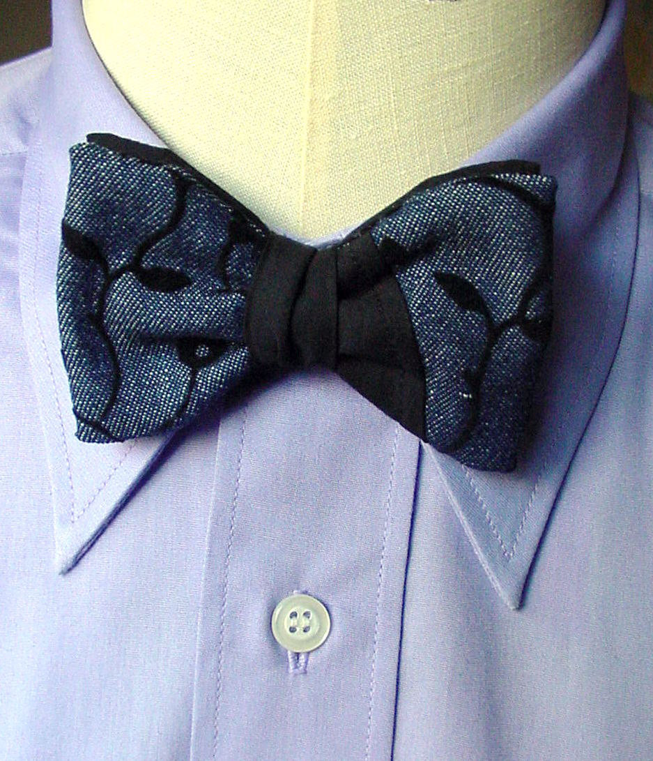 Clip On Tuxedo Bow Tie in Denim Blue Black, 1930s Style Cotton Anniversary