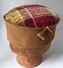 Load image into Gallery viewer, Handmade smoking cap in a red and brown check highland design