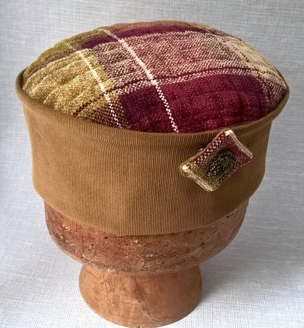 Handmade smoking cap in a red and brown check highland design