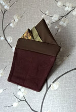Load image into Gallery viewer, Brown and Gold Pre Folded Pocket Square, Mens Wedding Suit Handkerchief