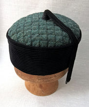 Load image into Gallery viewer, Oriental style tassel smoking cap with a green herringbone tip and black corduroy crown