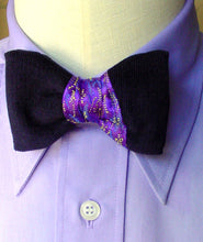Load image into Gallery viewer, Pre Tied Bow Tie Tie, Purple and Navy Asymmetrical 50s Fashion Men