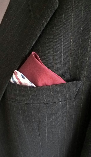 Pocket Square Pre Folded with Burgundy Gingham Check, Suit Accessory Retro Fashion