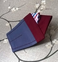Load image into Gallery viewer, Pocket Square Pre Folded with Burgundy Gingham Check, Suit Accessory Retro Fashion