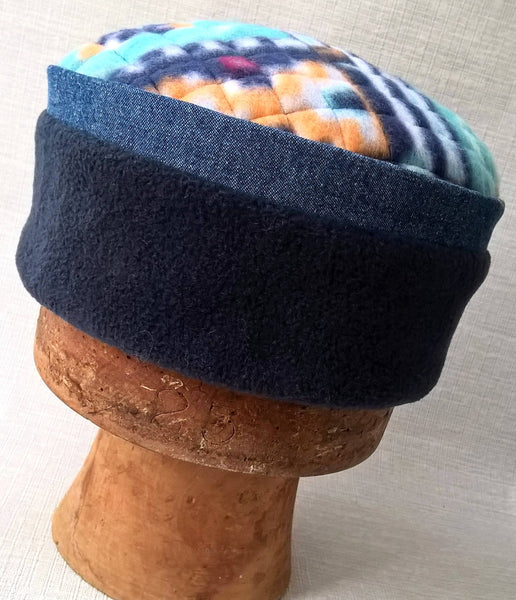 Handmade mens navy winter flleece hat wth tribal print quilted tip and denim trim