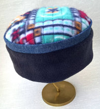 Load image into Gallery viewer, The navy and denim crown compliments the vibrant multi coloured tip of this fleece cap