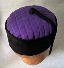 Load image into Gallery viewer, Tip of smoking cap quilted and embellished with multi coloured seed beads
