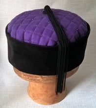 Load image into Gallery viewer, A beautiful tassel crafted from vintage black fringing completes this mens smoking cap