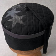 Load image into Gallery viewer, Wizards tassel smoking cap in black and grey with applique stars by TwiLd Capit Hog