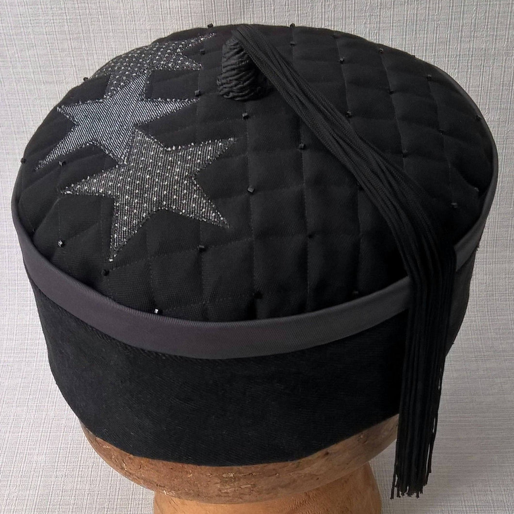 Wizards tassel smoking cap in black and grey with applique stars by TwiLd Capit Hog