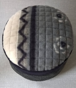 Grey Ethnic Pillbox Hat, Fleece Tribal Winter Cap