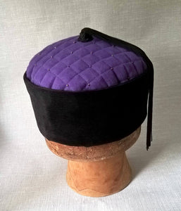 Smoking cap with purple twill tip, black corduroy crown and tassel
