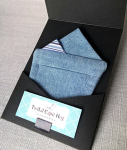 Denim Pre Folded Pocket Square, Mens Retro Suit Accessory