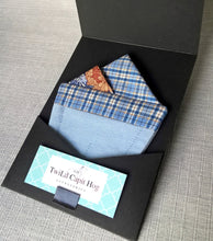 Load image into Gallery viewer, Pre Folded Pocket Square in Blue Check and Floral Design for the Dapper Gent