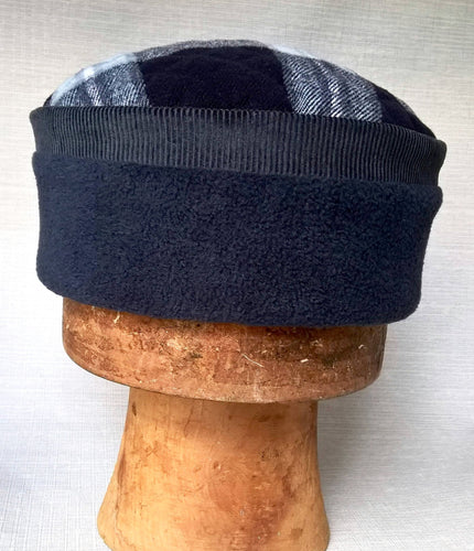 Lumberjack Fleece Kufi Hat, Mens blue Winter Pillbox Cap