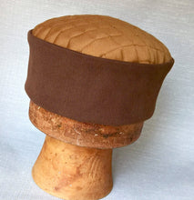 Load image into Gallery viewer, Handmade Brown Pillbox shaped Fez Hat. A Victorian Men's Steampunk Smoking Cap