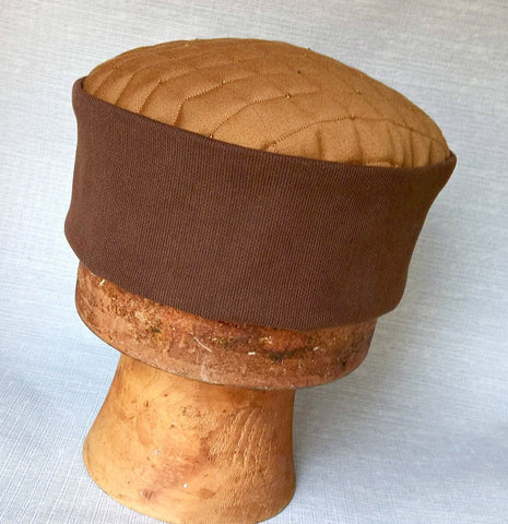 Handmade Brown Pillbox shaped Fez Hat. A Victorian Men's Steampunk Smoking Cap