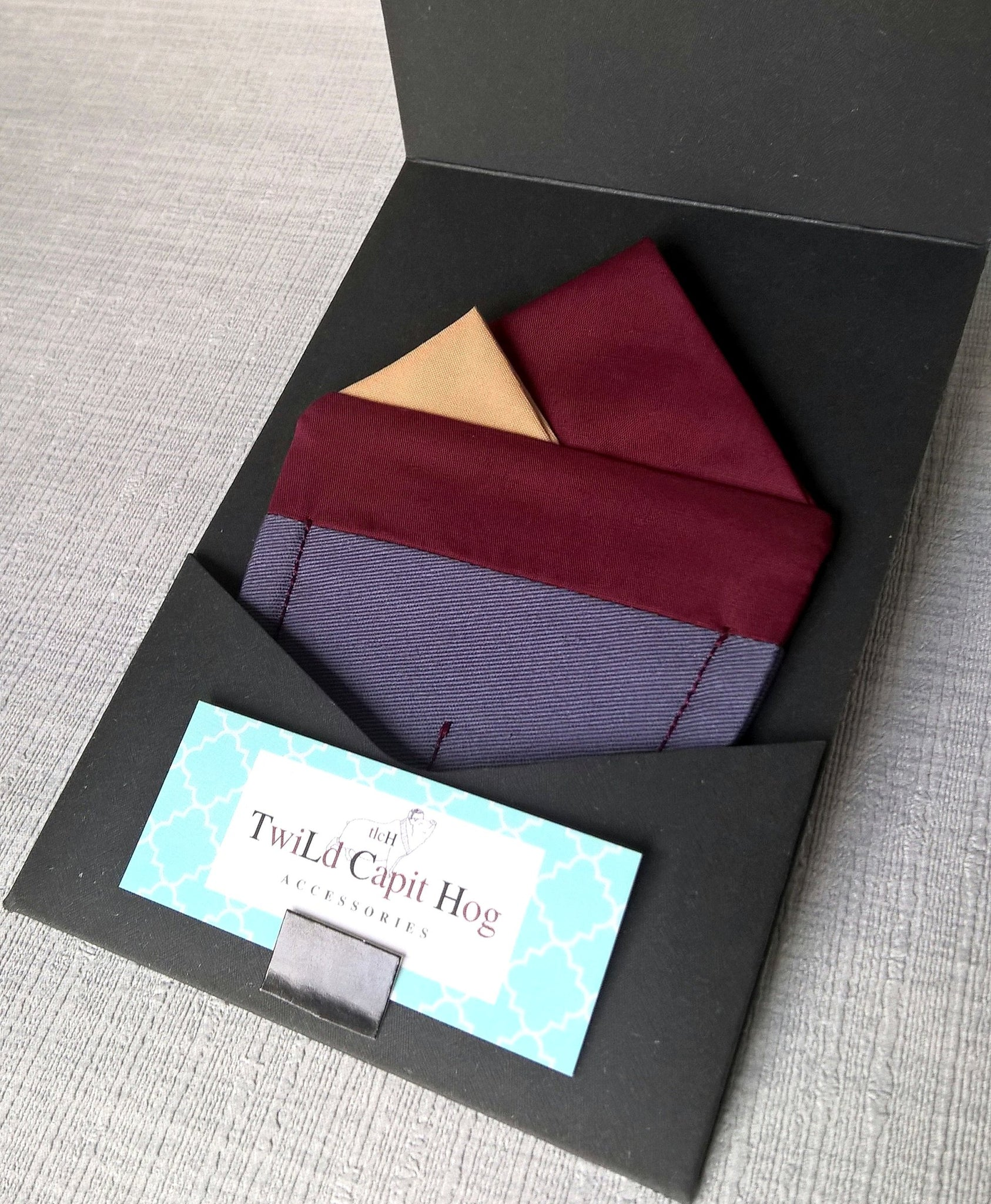 Burgundy Pre Folded Pocket Square, Mens Retro Fashion Wedding Attire.