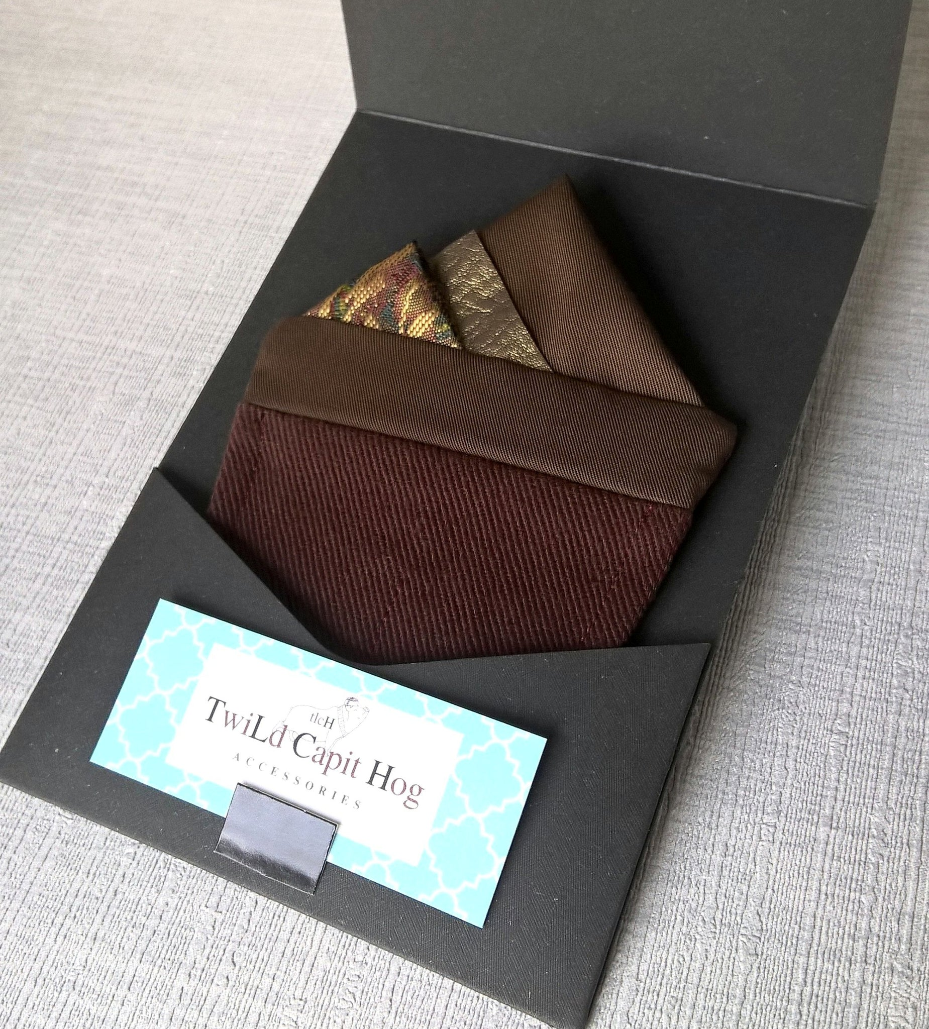 Brown and Gold Pre Folded Pocket Square, Mens Wedding Suit Handkerchief