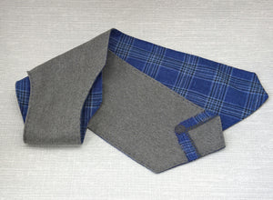 Wool Scarf in Grey and Blue, Cravat Style Neck Tie with Felted Detail