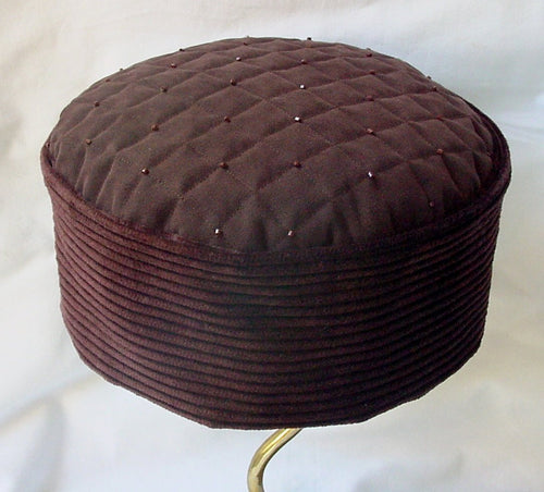 Handmade Brown corduroy and suede look Victorian style smoking cap